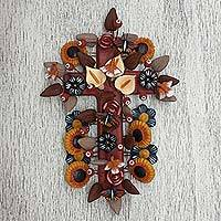 Ceramic wall cross, 'Power of Faith' - Ceramic Cross with Birds and Flowers