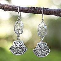 Sterling silver flower earrings, 'Mexican Vintage' - Collectible Floral Sterling Silver Dangle Earrings