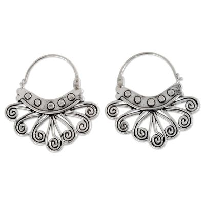 Handcrafted Taxco Silver Hoop Earrings