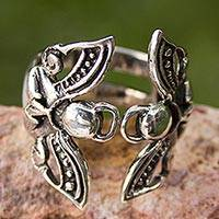 Silver cocktail ring, Angels at Prayer