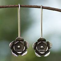 Silver floral earrings, 'Mexican Rose' - Silver floral earrings