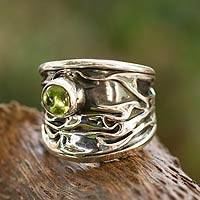 Peridot band ring, 'Taxco Dawn' - Unique Modern Fine Silver Peridot Ring