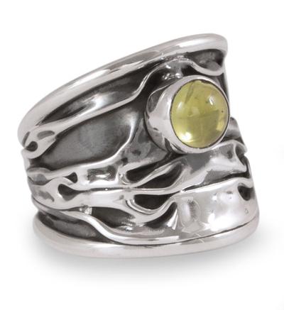 Unique Modern Fine Silver Peridot Ring