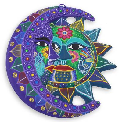 Fair Trade Sun and Moon Ceramic Wall Art