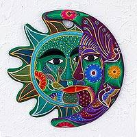 Ceramic wall adornment, 'Emerald Floral Eclipse' - Handcrafted Mexican Sun and Moon Ceramic Placque