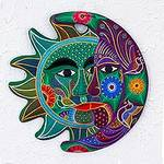 Handcrafted Mexican Sun and Moon Ceramic Placque, 'Emerald Floral Eclipse'