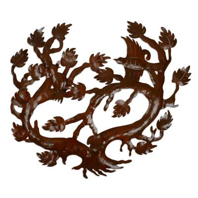 Novica Mexico Handcrafted Brown Iron Floral Wall Art