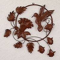 Iron wall sculpture, 'Hummingbird Fiesta' - Bird Wall Art Sculpture