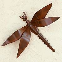 Iron wall sculpture, 'Exotic Dragonfly' - Unique Good Luck Steel Wall Art