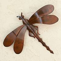 Iron wall sculpture, 'Summer Dragonfly' - Good Luck Steel Bug Sculpture