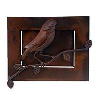 Iron wall sculpture, 'Little Tailor Bird' - Iron wall sculpture
