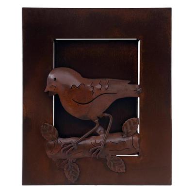 Unique Brown Sparrow Iron Relief Panel Bird Wall Art