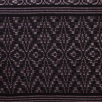 Zapotec cotton rebozo shawl, 'Black Zapotec Treasures' - Geometric Cotton Patterned Shawl