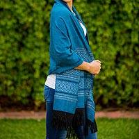 Zapotec cotton rebozo shawl, 'Blue Zapotec Treasures' - Handcrafted Eco-Friendly Geometric Patterned Shawl
