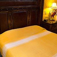 Zapotec cotton bedspread, 'Sunny Fields' (twin) - Handmade Zapotec Yellow Cotton Bedspread Quilt (Twin)