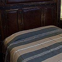 Zapotec cotton bedspread, 'Land of Oaxaca' (twin) - Zapotec Brown Cotton Striped Bedspread Quilt (Twin)