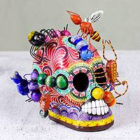 Ceramic sculpture, 'New Life' - Collectible Mexican Ceramic Skull Sculpture