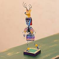 Ceramic statuette, 'Day of the Dead Deer Dance' - Unique Day of the Dead Dancer Ceramic Sculpture