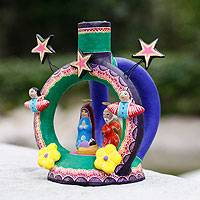 Ceramic candleholder, 'Mexican Nativity' - Artisan Crafted Nativity Scene Ceramic Candle Holder