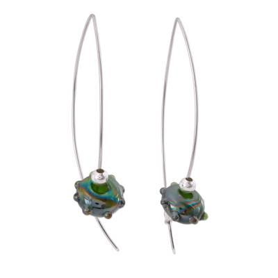 Dichroic art glass dangle earrings
