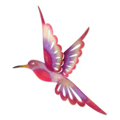 Iron wall sculpture, 'Violet Hummingbird' (large) - Steel Bird Wall Art (Large)