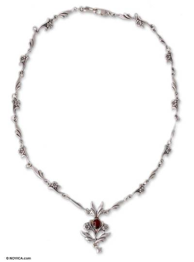 Floral Carnelian Sterling Silver Pendant Necklace