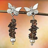 Cultured Pearl and smoky quartz dangle earrings, 'Favorite Memories' - Artisan Crafted Silver Smoky Quartz and Pearl Earrings