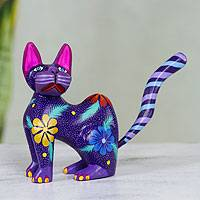 Alebrije sculpture, 'Springtime Cat' - Hand Crafted Purple Wood Kittycat Folk Art Sculpture