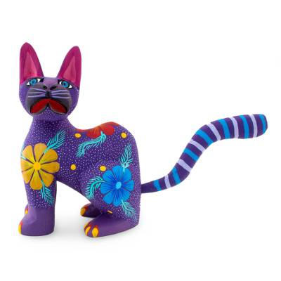 Handmade Purple Alebrije Cat Painted Wood Sculpture with Flowers