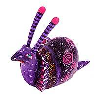 Alebrije sculpture, 'Oaxaca Snail' - Handcrafted Mexican Folk Art Alebrije Sculpture