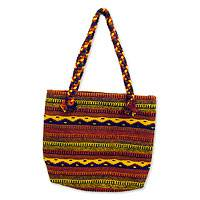 Zapotec wool shoulder bag, 'Oaxaca Sunset' - Zapotec wool shoulder bag