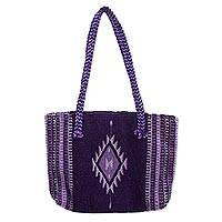 Zapotec wool shoulder bag, 'Violet Duality' - Handcrafted Zapotec Wool Shoulder Bag