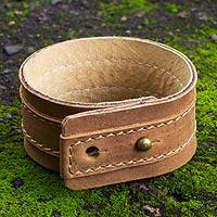 Men's leather wristband bracelet, 'Desert Sands' - Men's Leather Wristband Bracelet