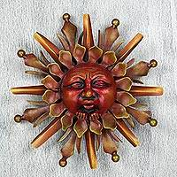 Iron wall sculpture, 'Gift of the Sun' - Handcrafted Orange Steel Wall Art