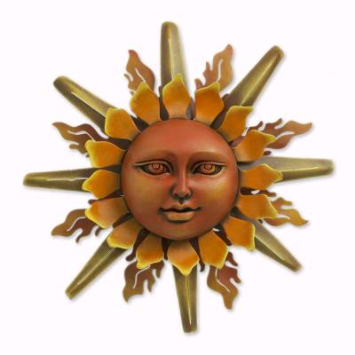 Hand Crafted Mexican Sun Face Steel Wall Art Lady Sun