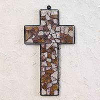 Marble mosaic cross, 'Subtle Glow' - Marble mosaic cross