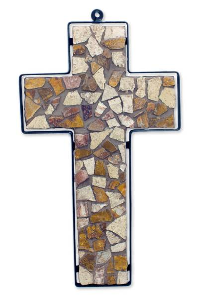 Fair Trade Brown Marble Mosaic and Wrought Iron Wall Cross