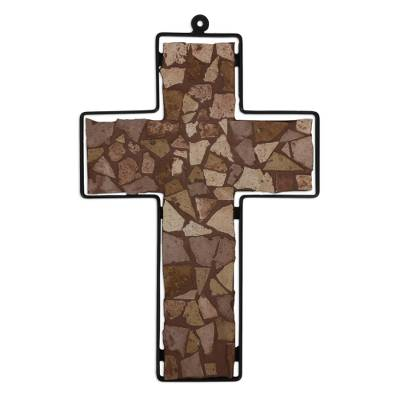 Fair Trade Mosaic Brown Marble Wall Cross with Wrought Iron Frame