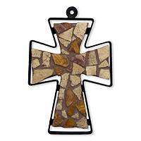 Marble mosaic cross, 'Autumn Faith' (medium) - Marble mosaic cross (Medium)