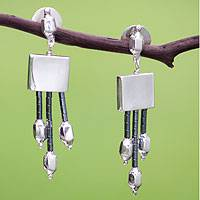 Hematite waterfall earrings,
