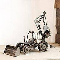 Auto part sculpture, 'Rustic Bulldozer Digger' - Unique Recycled Metal and Car Parts Sculpture Mexico