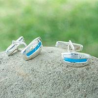 Men's sterling silver cufflinks, 'River' - Men's sterling silver cufflinks