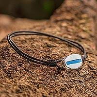 Men's sterling silver bracelet, 'River'