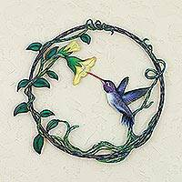 Steel wall art, 'Paradise Hummingbird' - Handcrafted Bird Metal Art for the Wall