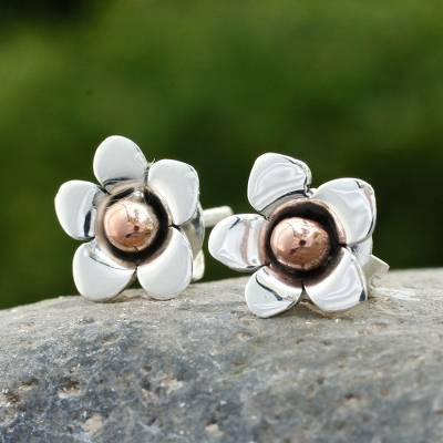 Silver button earrings, 'Taxco Wildflower' - Hand Made Floral Fine Silver Button Earrings from Mexico