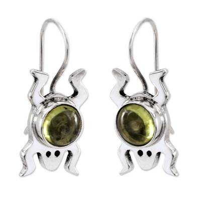 Sterling Silver and Peridot Good Luck Earrings