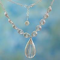 Sterling silver Y necklace, 'Taxco Trends' - Sterling silver Y necklace