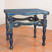 Wood end table, 'Hidalgo Royal Blue' (Mexico)