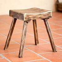 Wood stool, 'Ranch House Brown' - Wood stool