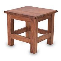 Parota wood end table, 'San Pedrito Mission' (Mexico)